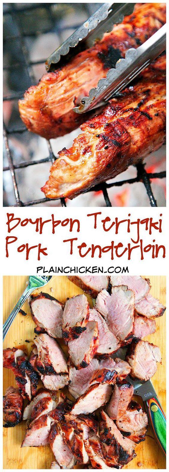 Bourbon Teriyaki Pork Tenderloin Recipe - only 5 ingredients! Teriyaki marinade, bourbon, brown sugar, garlic and pork. SO simple and SO delicious! Can grill or bake pork.