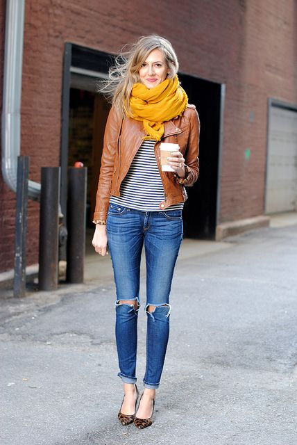 Blue denim jeans + leather jacket + striped shirt + yellow infinity scarf + heels:
