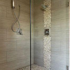 Brick stack horizontal striated tile pebble accent stripe for Horizontal tile shower