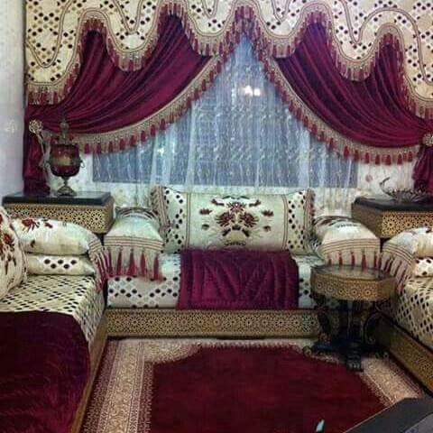 Salon marocain vert turquoise beige – Amenda decor | Salons ...