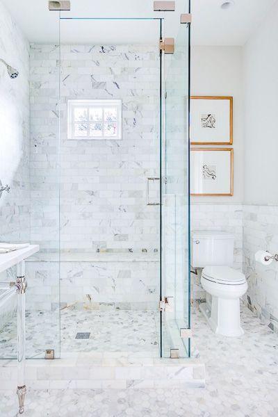 Excellent Ideas For Bathroom Decorations Small Heated Whirlpool Baths Solid Steam Bath Unit Kolkata Clean The Bathroom With Vinegar And Baking Soda Old Bathroom Home Design WhiteLuxury Bath Rugs EJ Interiors   Bathrooms   Calacatta Marble, Crystal Knobs, Glass ..