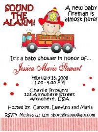 Carries Kiddie Closet Fireman Baby Shower Invitations