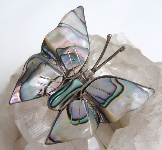SOLD! Vintage Butterfly Pin Abalone MOP Mother of by VintageFunkandFlair