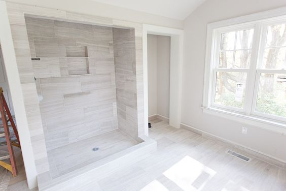 Marble tile from Dobkin tile  Paint Benjamin Moore, half Lacey Pearl + half Abalone