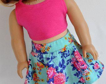 18 inch Doll kleren blauw pastel Skater-rok met door CircleCSewing