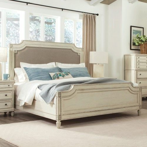 Huntleigh Wood & Upholstered Panel Bed - Image Shown in Vintage White
