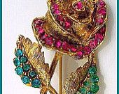 "Vintage Rose Flower Brooch Pin Pink & Teal Green Rhinestones Gold Metal 2.5"" VG"