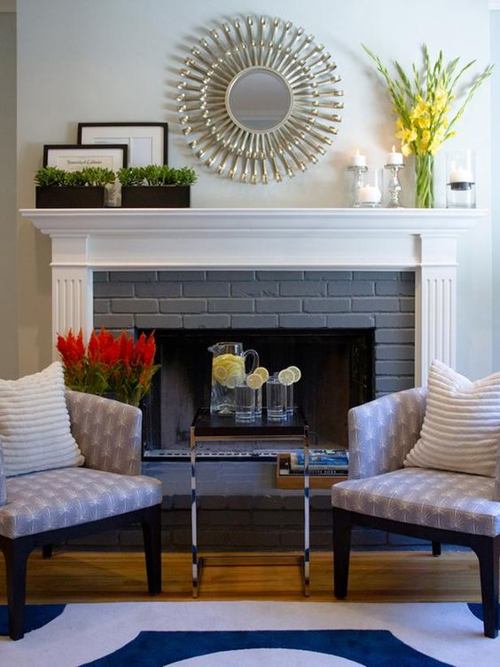 Fireplaces bricks and mantels on pinterest - Decor above fireplace mantel ...