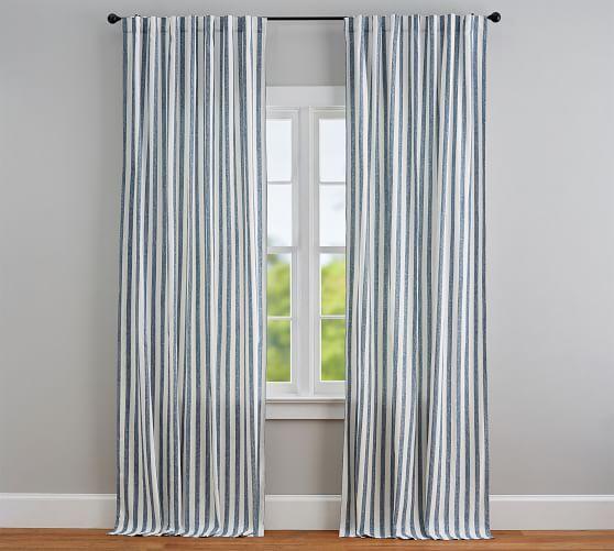 Eden Stripe Curtain Set Of 2 Blue Striped Curtains Living Room Decor Curtains Ticking Stripe Curtains