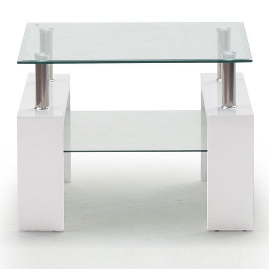 Lilia Tempered Glass Lamp Table With White Finish Legs Glass End Tables Glass Side Tables Table Lamp