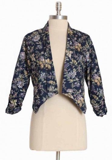 Floral Sonata Cropped Blazer | Modern Vintage Outerwear