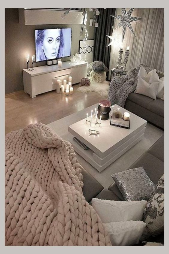 cozy gray neutral living room ideas with pops of color