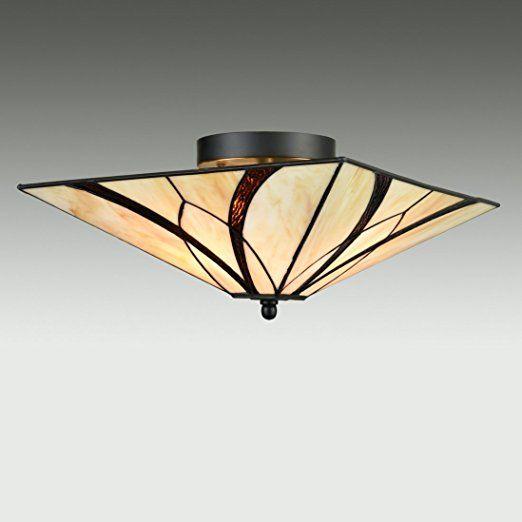 Eul Tiffany Style Mission Semi Flush Ceiling Light Antique
