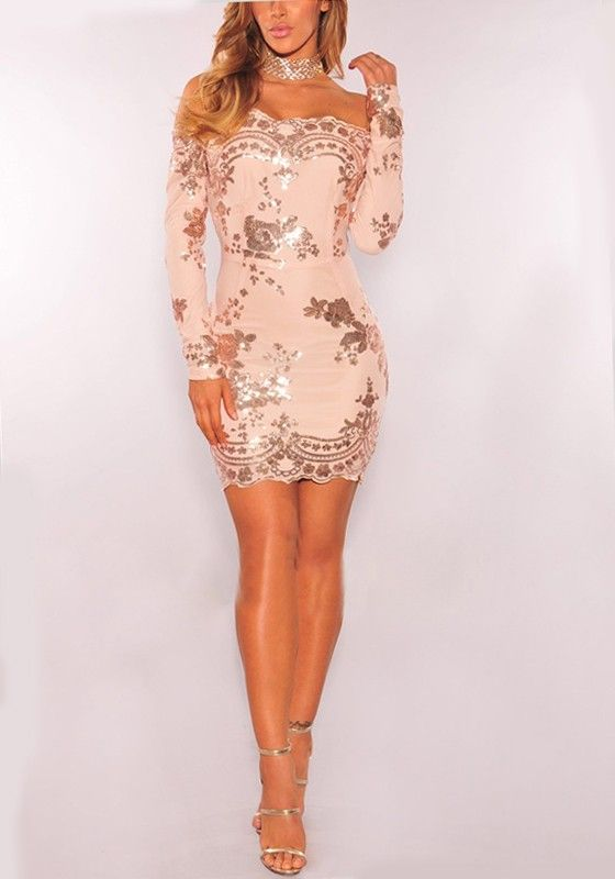 Rose Golden Floral Sequin Off Shoulder Long Sleeve Prom Evening Party Mini Dress Robe Nouvel An Robe Nouvel An Paillettes Robe Fashion