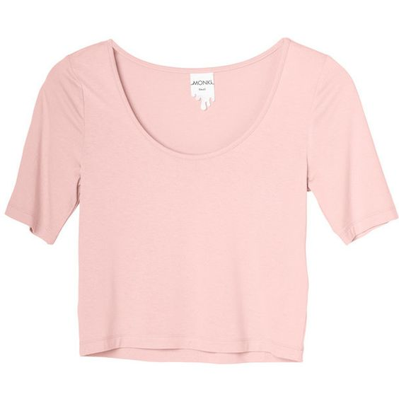 Jessie top (€6) ❤ liked on Polyvore featuring tops, t-shirts, shirts, crop tops, icecream pink, pink tee, crop tee, pink shirt, pink top and shirt crop top