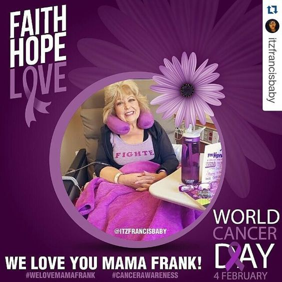 #Repost @itzfrancisbaby with @repostapp  February 4th is World Cancer Day! As many of you know our beloved @jancfrank mom of @jdfffn currently has cancer. I made this picture as a support for her because we ALL love her and Jason. So please let's share this to raise cancer awareness and to show @jancfrank how much she is loved!! Thank you!! #TeamJDF #welovemamafrank #cancerawareness #worldcancerday #teammamafrank #fckcancer #cancersucks #faithhopelove #beatcancer #fighter by sdcobra10