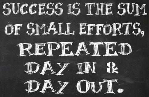 """""""Success is the sum of small efforts, repeated day in and day out."""""""