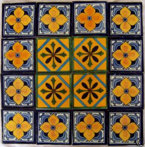 "Image detail for -W160 16 Mexican Talavera Tiles Ceramic 4x4"" Folk Art 