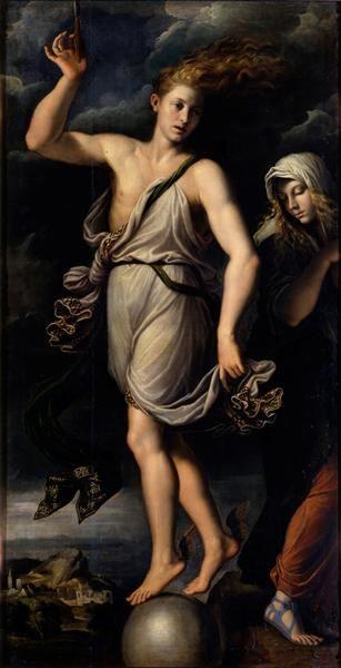 The opportunity and the regret  Carpi, Girolamo da (painter)  1541  Gemäldegalerie Alte Meister