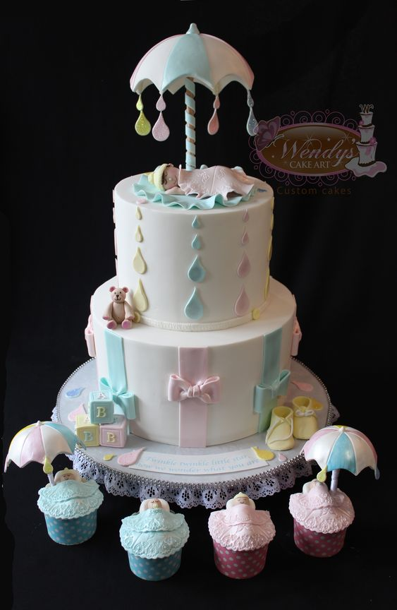 Umbrella baby shower baby shower cakes and shower cakes for Baby shower decoration stores