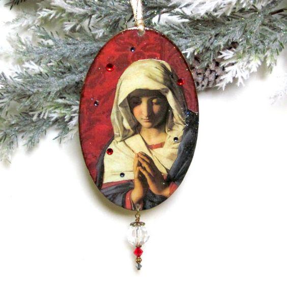 Vintage Religious Christmas Ornament: Religious Christmas Ornament Virgin Mary Decoupaged