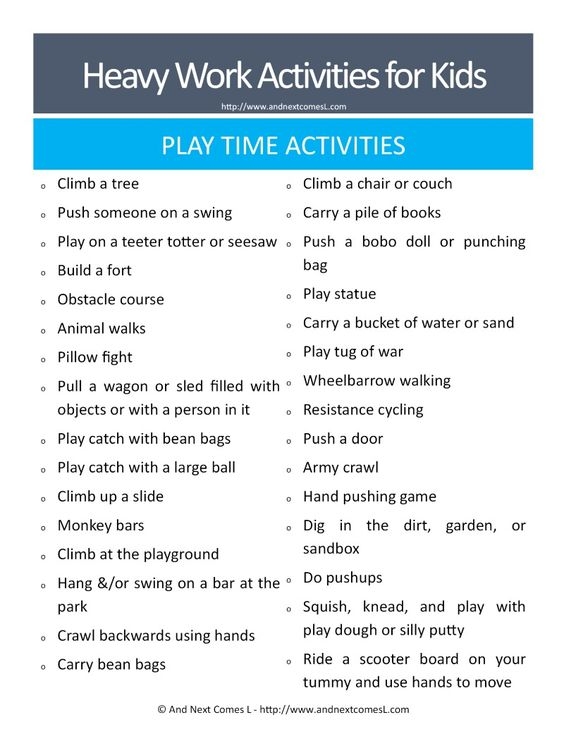Classroom Ideas For Sensory Integration : Heavy work activities for kids free printable brain