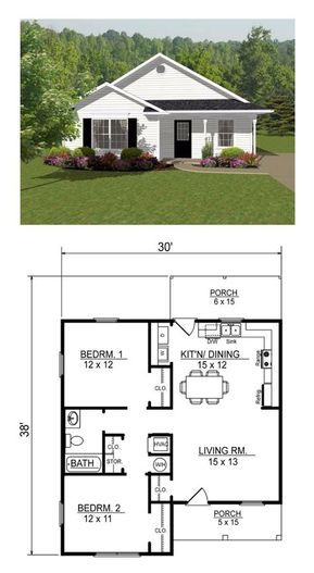Open Concept Two Bedroom Small House Plan Other Examples At This Link Tiny House Floor Plans Small House Floor Plans Small House Plans