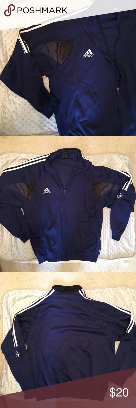 Adidas Navy Jacket Size XL navy blue with 3 white stripes. In GREAT condition. Features zipper closure and two side pockets wothbzipper closure. Small mesh panels on upper arm. 100% Polyester. Selling for $20 or best offer! Adidas Jackets & Coats Performance Jackets