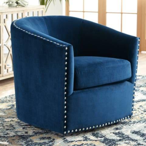 Elements Fullerton Navy Blue Swivel Chair 58w22 Lamps Plus