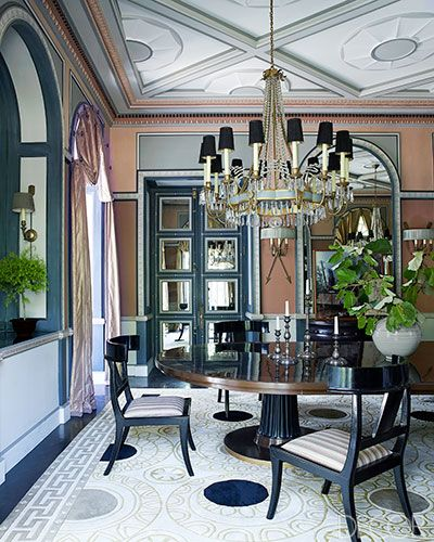 in the dining room the directoire style chandelier was made in india