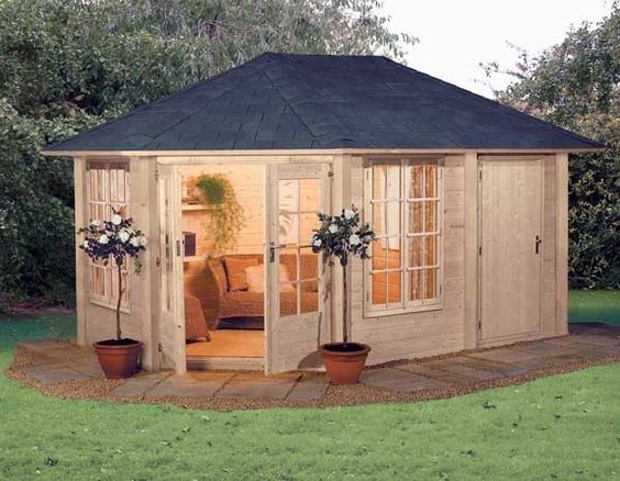 Sheds posh sheds and gardening on pinterest for Small garden huts