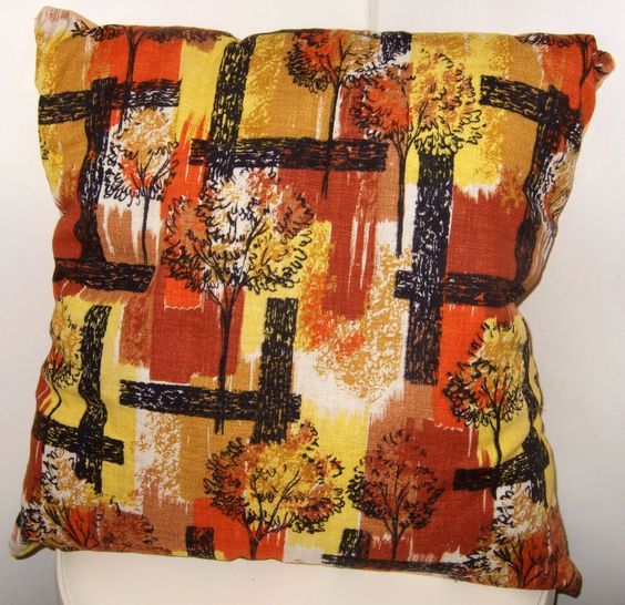 Handmade retro cushion using original 1960's barkcloth fabric.