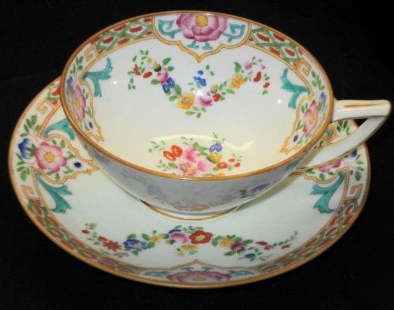 MINTON ENGLAND ART DECO TURQUOISE TEA CUP AND SAUCER #B916
