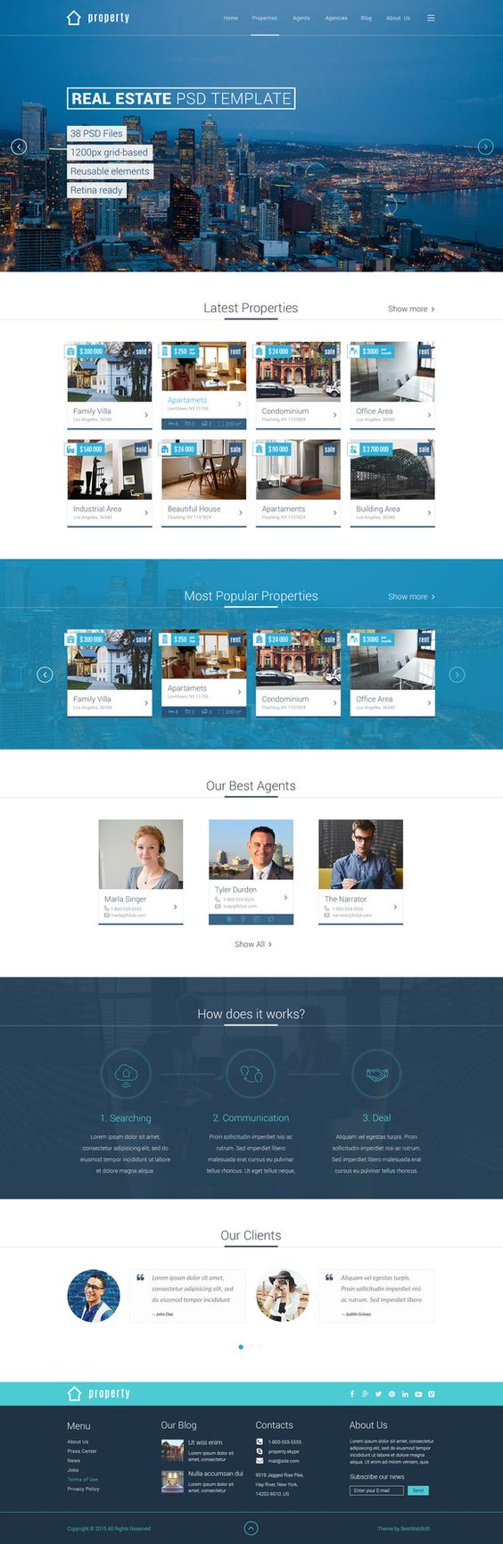 Property - Real Estate PSD Template by bestwebsoft on Creative Market