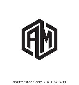 Am Initial Letters Loop Linked Hexagon Monogram Logo Monogram