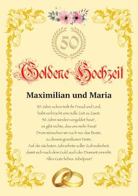 Goldenene Hochzeit 50 Jahriger Hochzeitstag Hochzeitsurkunde Mit Texteindruck In 2020 Diamantene Hochzeit Spruche Diamantene Hochzeit Porzellanhochzeit