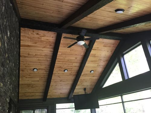 Faux Wood Beams Porch Ceiling Faux Wood Beams Faux Beams Wood Plank Ceiling