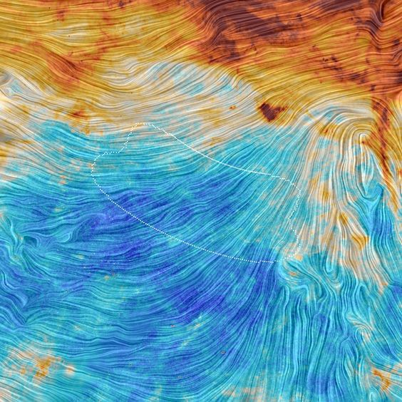 The color scale in this image from the Planck mission represents the emission from dust, a minor but crucial componet that pervades our Milky Way galaxy. The texture indicates the orientation of the galactic magnetic field Planck15-001a