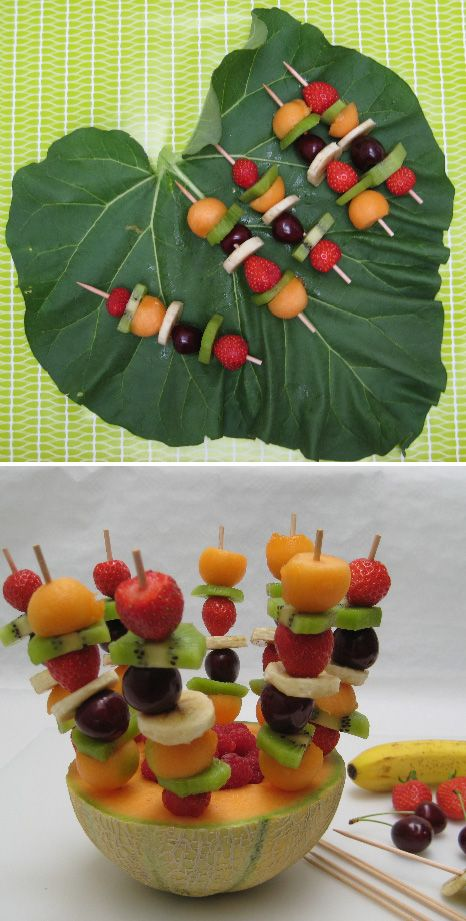 Fruit sons and kebabs on pinterest - Presentation de brochette de fruits ...