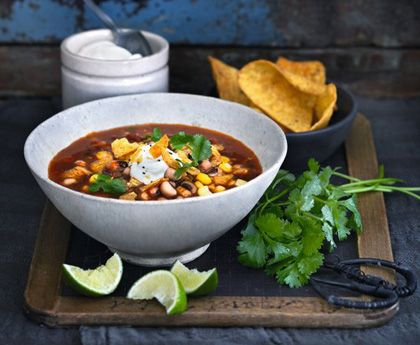 Mexican style spicy soup -- spice is nice and Ortega does it right - ortega.com #soup #spicy #Mexicanfood