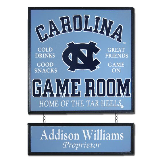 -University of North Carolina Personalized Game Room Sign-      Let all who visit know that they've entered Tar Heels territory with this personalized North Carolina custom wood sign. Perfect sports decor for any game room!