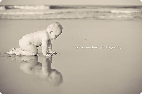 reflection of baby on the beach..precious