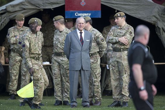Prince Philip, Duke of Edinburgh, Colonel of the Grenadier Guards, and Life Member of the Grenadier Guards Association, visits the 1st Battalion of the Grenadier Guards on February 24, 2014 in Aldershot, England.