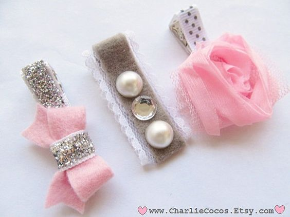 Girls/Baby Hair Clip Set, Felt Flower, Felt Bow Hair Clips, Unique Hair Clips…