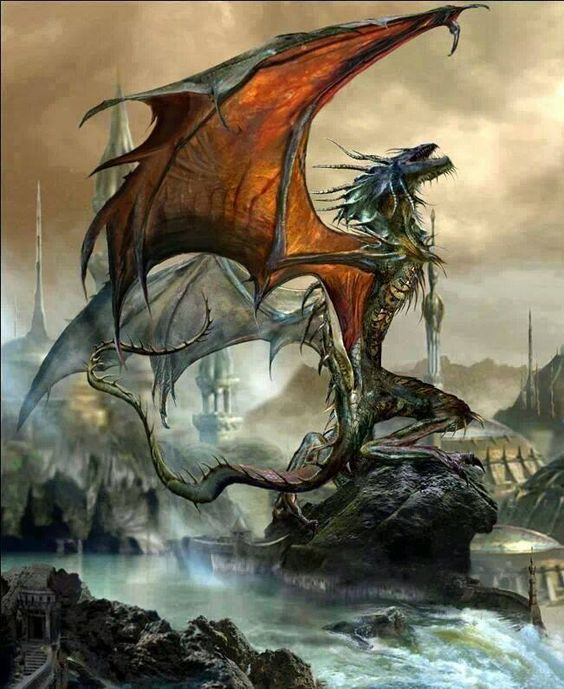 赤い翼を広げるブラックドラゴンの壁紙