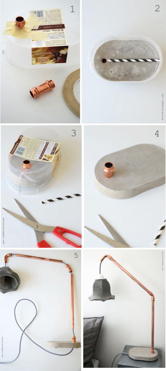 L mpara hecha con hormig n y tubos de cobre cobre - Lamparas para buhardillas ...