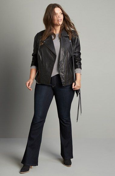 Main Image - Sejour Leather Jacket and Wit & Wisdom Jeans Outfit with Accessories (Plus Size)