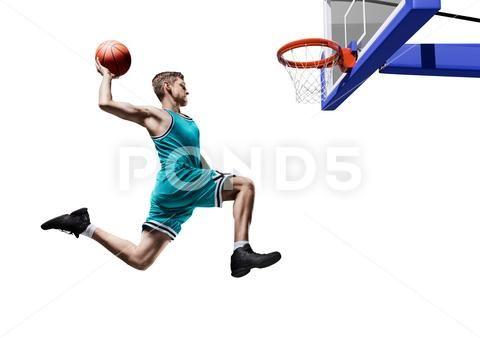 Basketball Player Making Slam Dunk Isolated Stock Photos Ad Making Slam Basketball Player Basketball Players Slam Dunk Slam Basketball