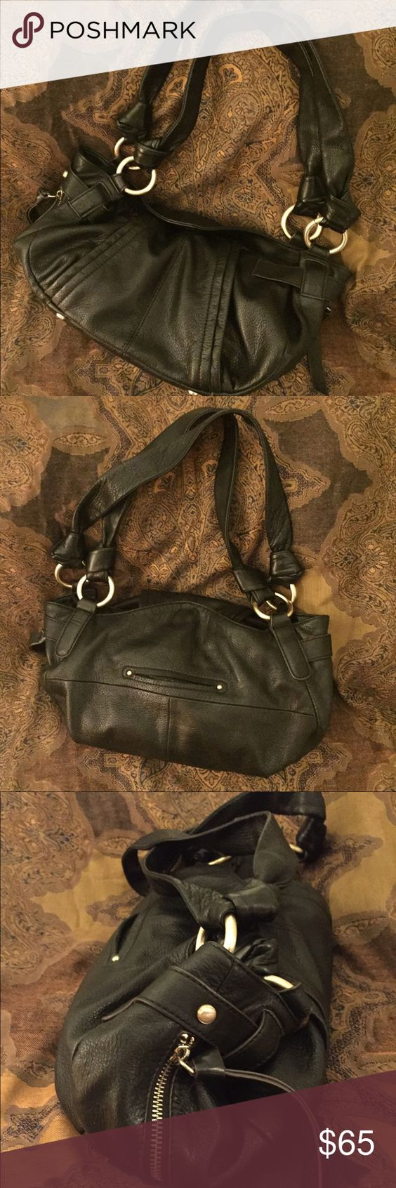 B. Makowsky Leather Shoulder Bag Excellent used condition without any signs of wear.  Luxurious thick black leather with gold hardware, roomy interior with large zipper compartment inside. Magnetic closure. Bags Shoulder Bags