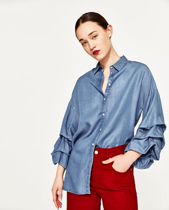 Image 2 of SHIRT WITH PUFFED SLEEVES from Zara